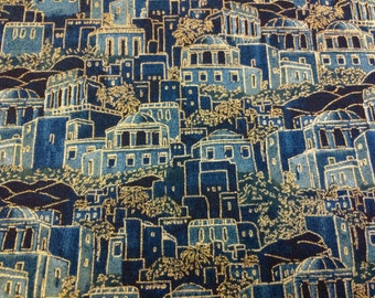 Judaic Fabric Fat Quarters Ancient City Blue  with Gold Accents