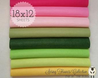 Spring Flowers Felt Collection, Wool Blend Felt, Wool Felt Sheets, Wool Felt Fabric, Felt Fabric Bundle, Wool Felt Bundles, Felt Collections