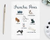 Frenchie Poses Art Print - French Bulldog Art Print - French Bulldog Poses Art Print - Dog Yoga Art Print - French Bulldog Gift - 8x10 11x14
