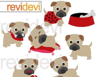 Pugs clip art / Little pugs clipart - cute pug dog clip art - puppy, pet - digital clipart - commercial use - instant download