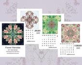 2017 Flower Mandala Calendar, 2017 Zen Calendar, 2017 Calendar,  Desk Calendar, Peace Meditation Calendar, Art Calendar