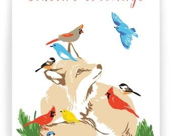 Season's Greetings Fox and Birds - Box of 8 cards