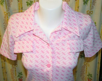 Vintage Mod Retro Pink and White Polyester Dress