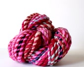 yarn, wool yarn, handspun yarn, hand spun yarn, rainbow yarn, 2ply candy cane yarn, bulky wool yarn, hand dyed yarn .. hot pot