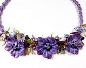 purple pansy flower bib necklace lamp work flowers macrame jewelry lamp work necklace macrame necklace garden flower bib statement necklace