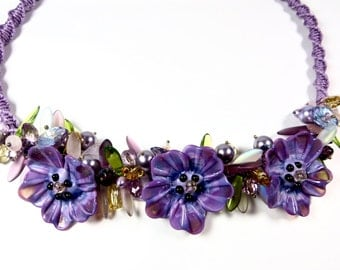 purple pansy flower bib necklace lamp work flowers macrame jewelry lamp work necklace macrame necklace garden flower bib statement necklace
