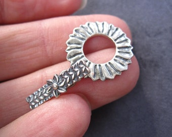 Flower Power - Oxidized Solid Sterling Silver Toggle Clasp - 18mm