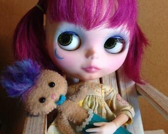 MerBoy OOAK Art Doll Blythe Friend Sleeping Boy Mermaid Art Doll Merman Whimsical Cute Purple Blue Aqua Hair
