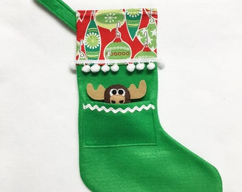 Green Stocking, Moose Stocking, Christmas Stocking, Pocket Stocking, Moose - Jolly Ornaments, Apple Green, Retro Inspired