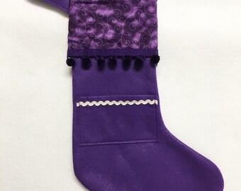 Christmas Stocking, Pocket Stocking, Pocket Peeper - Purple Swirl, Purple Stocking, Christmas Stocking