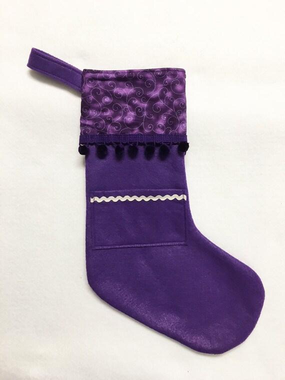 Felt Stocking, Pocket Stocking, Pocket Peeper - Purple Swirl, Purple Stocking, Christmas Stocking