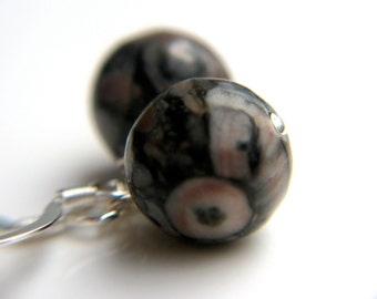 Round Orb Earrings . Fossilized Agate Earrings . Simple Dangle Earrings . Black Stone Earrings . Fossil Jewelry - Harlequin Collection