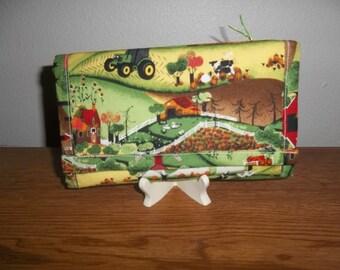 Trifold Wallet, John Deere Wallet, Fabric Wallet, Handmade, Clutch Purse, Cell Phone Checkbook Wallet, Women's Wallet, Accessories,  Gift