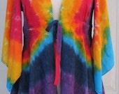 Tie Dye Rainbow Kimono Sleeve Rayon Jacket