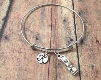 Fire truck initial bangle- fire truck jewelry, fireman jewelry, firefighter wife jewelry, fireman bracelet, fire department jewelry