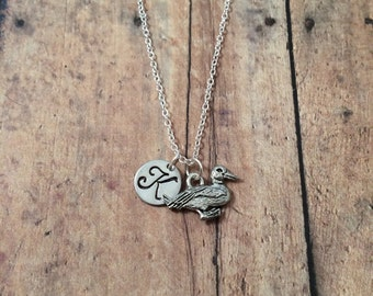 Duck initial necklace - duck jewelry, mallard necklace, bird jewelry, silver duck jewelry, duck charm necklace, pewter duck