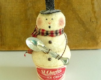 Primitive Snowman in vintage ice cream cup with spoon