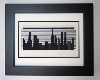 Cityscape in Black and White : Framed Thread Wrapping in a Flat Black style Frame with Double Matte