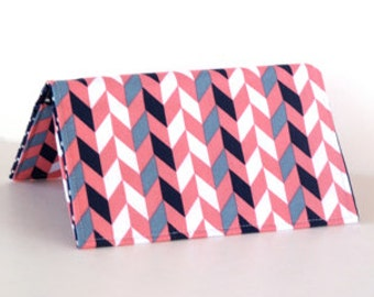 Checkbook Cover - Business Card Holder - Business Card Case - Coral and Navy - Chevron