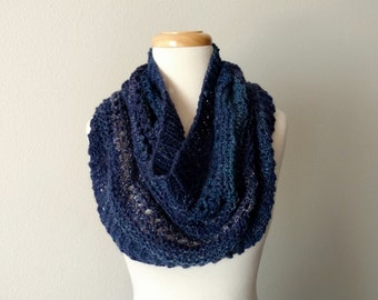 Winter Folk Cowl - Handknit Original Lace Cowl/Capelet in Deep Blue Tones - Handspun Yarn, Custom Blend, Merino Wool, Bamboo, Linen.
