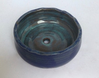 Handmade Blue Planter pot -great for herbs- succulents -nice gift- ceramic- handmade pottery  B91