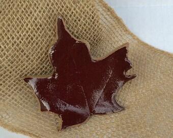 Red maple leaf, trinket dish, candle holder, gift, ceramic, pottery, hostess gift, decor