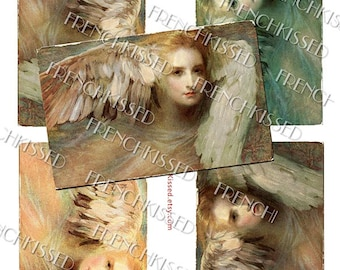 "Mythical ""Thought"" Magical Angel Wings  European Art Postcard 4 Images 8x10 Digital Sheet Christmas Tags"