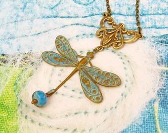 Blue dragonfly necklace set Art Nouveau jewelry Patina brass