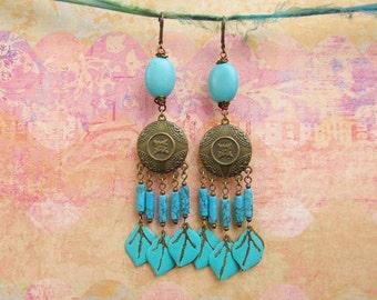 Long turquoise earrings big Boho chandelier earrings Gypsy jewelry
