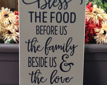 Bless the food before, kitchen sign, dining room sign, the family beside us, and the love between us -  Wall Sign - Wall Art - Style HM99