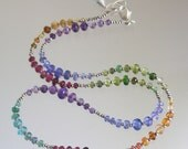 Rainbow Gemstone Necklace, Skinny Jewels, Graduating Gemstones, Tanzanite, Apatite, Emerald, Layering Jewelry, Original Design, Signature