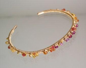Colorful Sapphire Cuff, Wire Wrapped Gold Filled Bracelet, Orange Sapphire Cuff, Red Spinel Cuff, Artist Made, Original Design