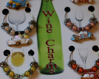 Set of 6 Antique Cars - WINE CHARMS