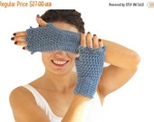 CLEARANCE 50% SALE Blue Wool Crochet Fingerless Gloves with Lace Edge by Afra