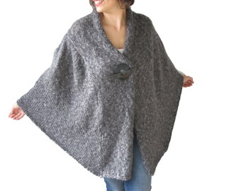 NEW! Dark Gray Hand knitted Plus Size Shawl by Afra
