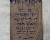 Wooden Wedding Invitation, Rustic Opulence Real Walnut Wood