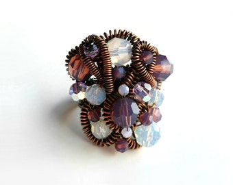 Chocolate Cyclamen Violet and White Opal Crystal Chaos Ring