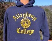 80s vintage hoodie ALLEGHENY college sweatshirt hoody Medium Large navy blue gold