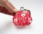 Coin purse, red and white, floral kimono fabric, silk purse