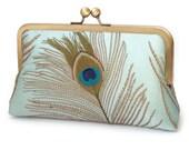 Peacock clutch bag, silk wedding purse, custom bridesmaid gift, embroidered blue silk, PEACOCK FEATHERS