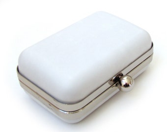 White leather box clutch, handmade purse, leather minaudière, bridal handbag with chain