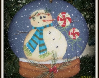 Snowman Snowglobe Wood Ornament Holiday Home Decor Decoration