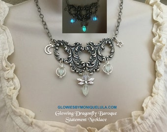 Glowing Dragonfly Baroque Moon & Star Vintage Statement Necklace Antique Silver Feathers Handmade Beaded Glow Orbs Blue and Aqua