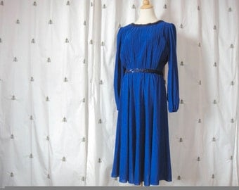 Vintage Blue Formal Dress with Sequins, Long Sleeve, Size Large, Extra Large, Plus, Sears, Elastic Waist, Midi Skirt, Sapphire Blue