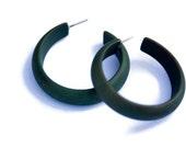 Evergreen Matte Marbled Hoops - lucite midi hoop earrings