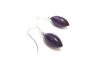 Dark Purple Pod Drops | Deep Purple Pod Drop Earrings in Moonglow Vintage Lucite Earrings