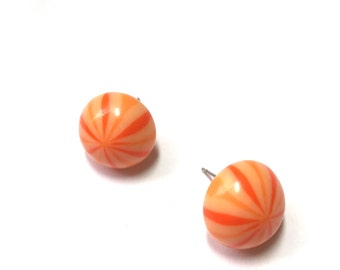 Orange Studs | Candy Stripe Stud Earrings | Stripe Retro Button Studs | vintage lucite post earrings