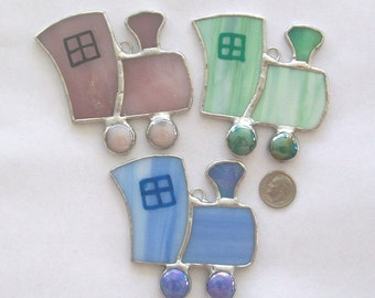 Tiny train ornament trio stained glass Christmas ornament set
