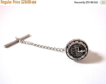 SUMMER SALE / 20% off Vintage Silver Tone Beer Keg Tie Pin with Chain