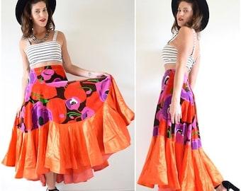 SUMMER SALE / 20% off Vintage 60s 70s Bailadora High Waisted Floral Print Velvet High Low Orange Satin Flamenco Skirt (size medium, large)